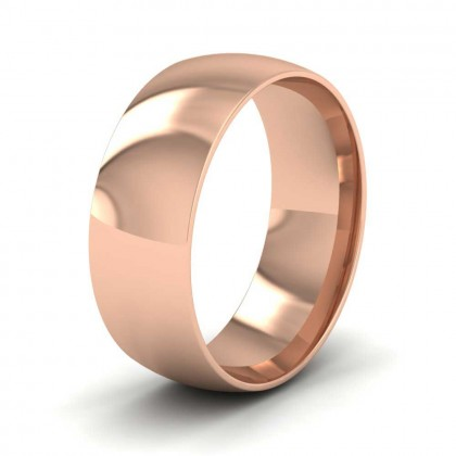 9ct Rose Gold 7mm Court Shape (Comfort Fit) Classic Weight Wedding Ring