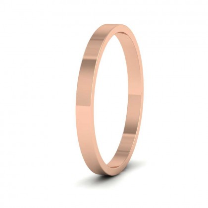 9ct Rose Gold 2mm Flat Shape Classic Weight Wedding Ring