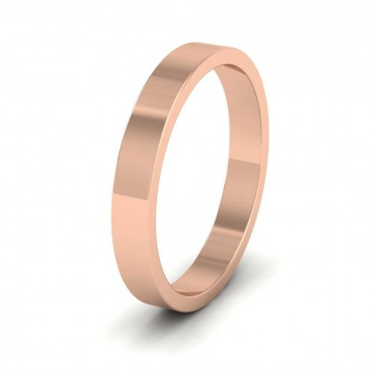 9ct Rose Gold 3mm Flat Shape Extra Heavy Weight Wedding Ring