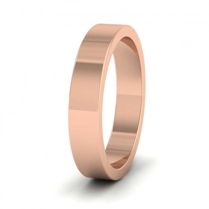 9ct Rose Gold 4mm Flat Shape Super Heavy Weight Wedding Ring