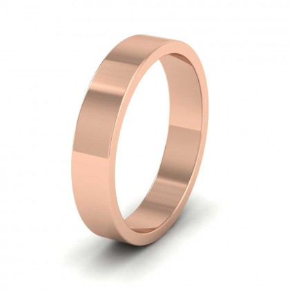 9ct Rose Gold 4mm Flat Shape Extra Heavy Weight Wedding Ring
