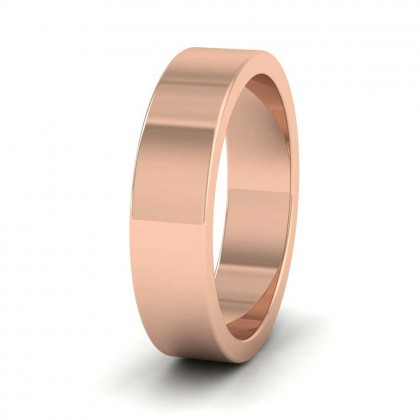9ct Rose Gold 5mm Flat Shape Super Heavy Weight Wedding Ring