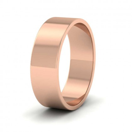 9ct Rose Gold 6mm Flat Shape Classic Weight Wedding Ring