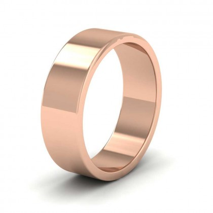 9ct Rose Gold 6mm Flat Shape Extra Heavy Weight Wedding Ring