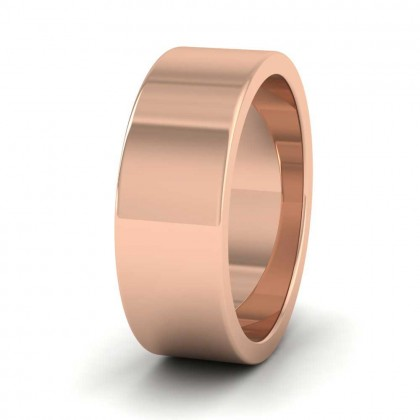 9ct Rose Gold 7mm Flat Shape Super Heavy Weight Wedding Ring