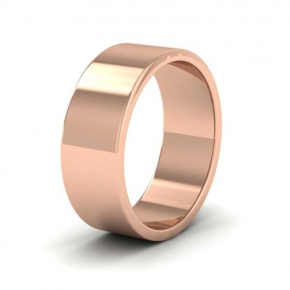 9ct Rose Gold 7mm Flat Shape Extra Heavy Weight Wedding Ring