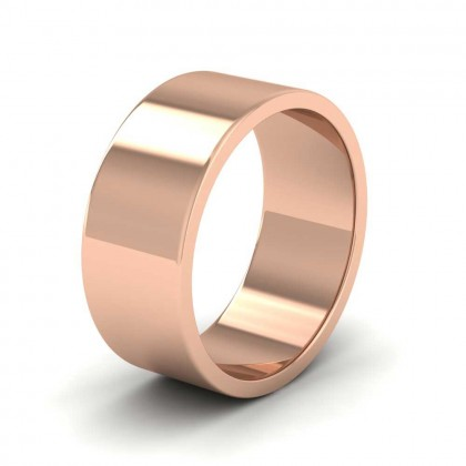 9ct Rose Gold 8mm Flat Shape Extra Heavy Weight Wedding Ring