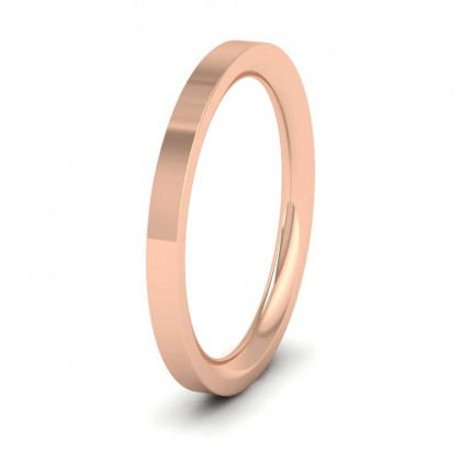 9ct Rose Gold 2mm Flat Shape (Comfort Fit) Super Heavy Weight Wedding Ring