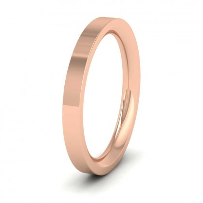 9ct Rose Gold 2.5mm Flat Shape (Comfort Fit) Super Heavy Weight Wedding Ring