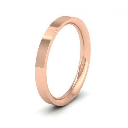 9ct Rose Gold 2.5mm Flat Shape (Comfort Fit) Extra Heavy Weight Wedding Ring