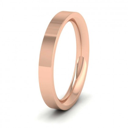 9ct Rose Gold 3mm Flat Shape (Comfort Fit) Super Heavy Weight Wedding Ring