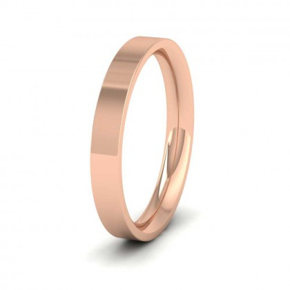 9ct Rose Gold 3mm Flat Shape (Comfort Fit) Extra Heavy Weight Wedding Ring