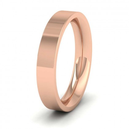 9ct Rose Gold 4mm Flat Shape (Comfort Fit) Super Heavy Weight Wedding Ring