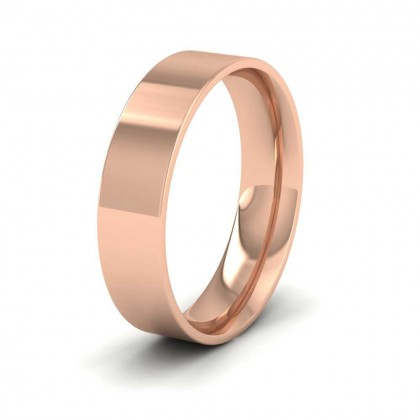 9ct Rose Gold 5mm Flat Shape (Comfort Fit) Classic Weight Wedding Ring