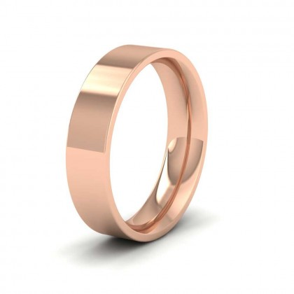 9ct Rose Gold 5mm Flat Shape (Comfort Fit) Extra Heavy Weight Wedding Ring