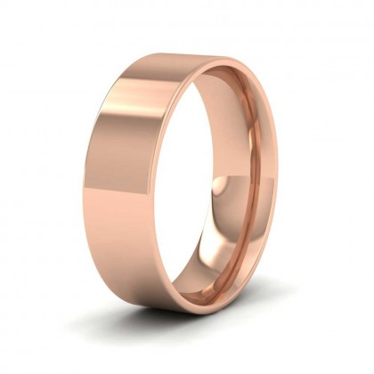 9ct Rose Gold 6mm Flat Shape (Comfort Fit) Classic Weight Wedding Ring