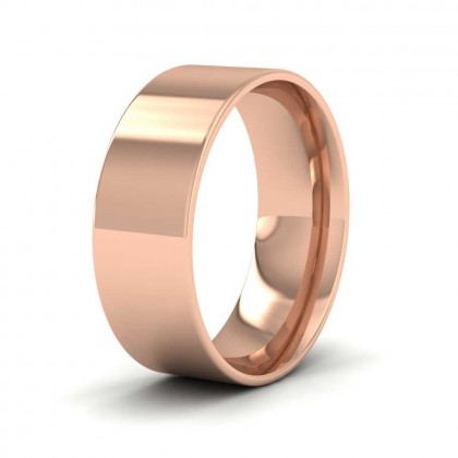 9ct Rose Gold 7mm Flat Shape (Comfort Fit) Classic Weight Wedding Ring