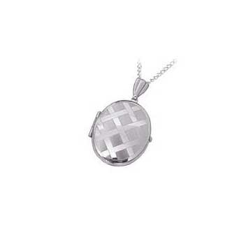 9ct White Gold Patterned Locket