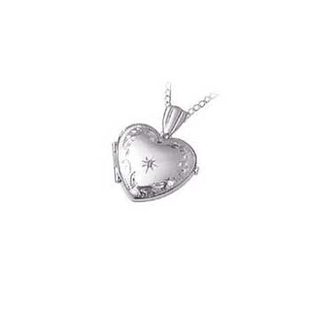 9ct White Gold Engraved Single Stone Diamond Locket