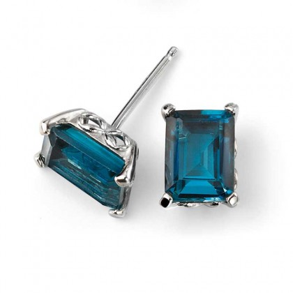 9ct White Gold Earrings Set With London Blue Topaz