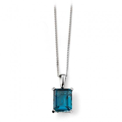 9ct White Gold Pendant Set With London Blue Topaz