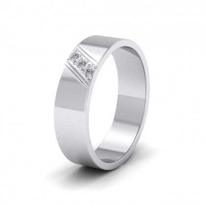Three Diagonal Diamond Set 9ct White Gold 6mm Wedding Ring