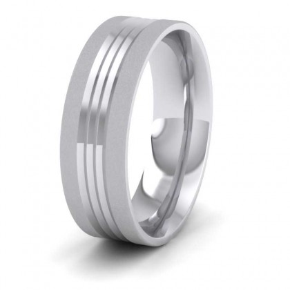 Grooved Pattern 9ct White Gold 7mm Wedding Ring