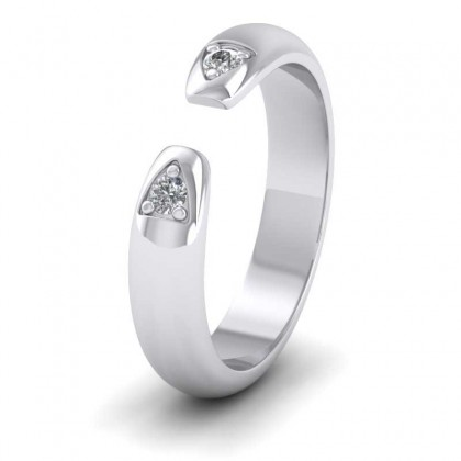 9ct White Gold 4mm 'D' Shape Two Stone Diamond Wedding Ring