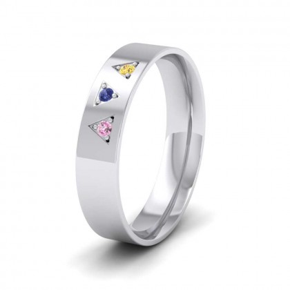 9ct White Gold 5mm Court Shape Three Stone Multi-coloured Sapphire Wedding Ring
