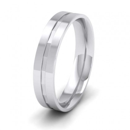 9ct White Gold 5mm Flat Court Shape Patterned Wedding Ring
