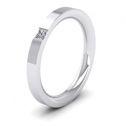 9ct White Gold 2.5mm Flat Court Shape Single Stone Diamond Wedding Ring