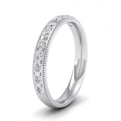 9ct White Gold 3mm Court Shape Twelve Stone Diamond Wedding Ring