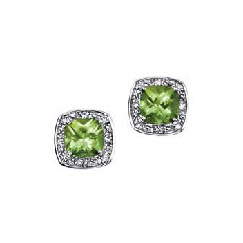 9ct White Gold Peridot and Diamond Earrings