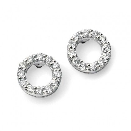 9ct White Gold Round Open Earrings Claw Set With Diamonds