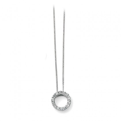 9ct White Gold Pendant Set With Diamond