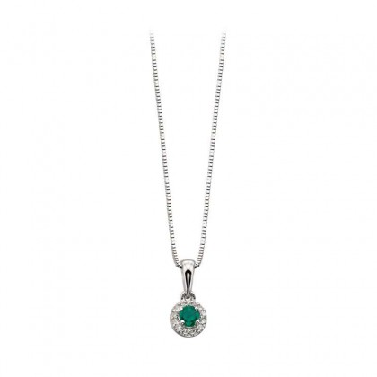 9ct White Gold Pendant Set With Emerald