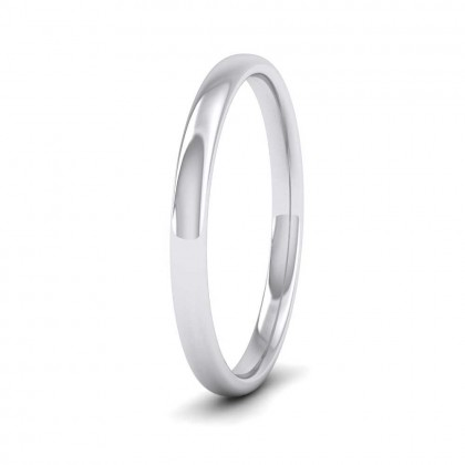 9ct White Gold 2mm Cushion Court Shape (Comfort Fit) Classic Weight Wedding Ring