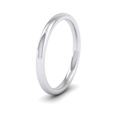 9ct White Gold 2mm Cushion Court Shape (Comfort Fit) Extra Heavy Weight Wedding Ring