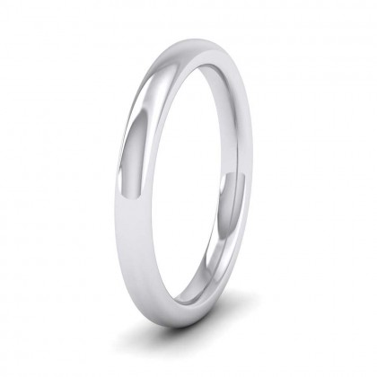 9ct White Gold 2.5mm Cushion Court Shape (Comfort Fit) Super Heavy Weight Wedding Ring