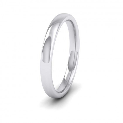 9ct White Gold 2.5mm Cushion Court Shape (Comfort Fit) Extra Heavy Weight Wedding Ring