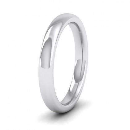9ct White Gold 3mm Cushion Court Shape (Comfort Fit) Super Heavy Weight Wedding Ring