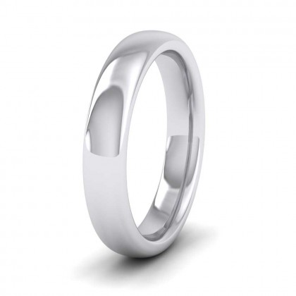9ct White Gold 4mm Cushion Court Shape (Comfort Fit) Super Heavy Weight Wedding Ring