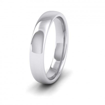 9ct White Gold 4mm Cushion Court Shape (Comfort Fit) Extra Heavy Weight Wedding Ring