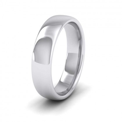 9ct White Gold 5mm Cushion Court Shape (Comfort Fit) Extra Heavy Weight Wedding Ring