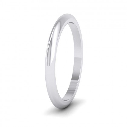 9ct White Gold 2mm 'D' Shape Super Heavy Weight Wedding Ring