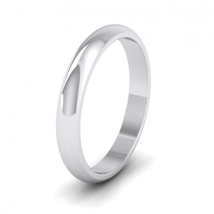 9ct White Gold 3mm 'D' Shape Extra Heavy Weight Wedding Ring