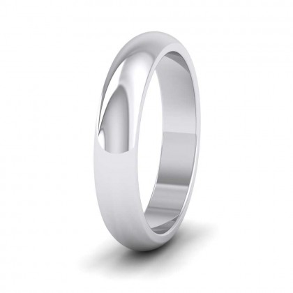 9ct White Gold 4mm 'D' Shape Super Heavy Weight Wedding Ring