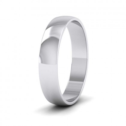 9ct White Gold 4mm 'D' Shape Classic Weight Wedding Ring