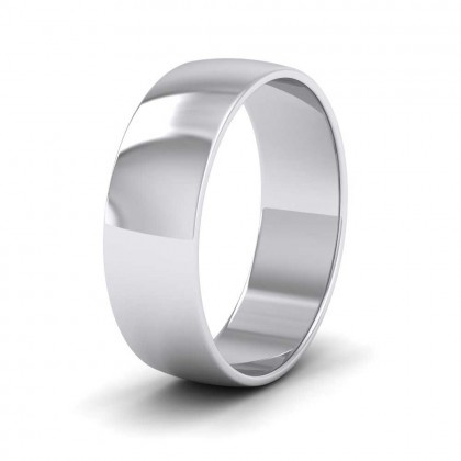 9ct White Gold 6mm 'D' Shape Classic Weight Wedding Ring