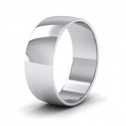9ct White Gold 7mm 'D' Shape Classic Weight Wedding Ring